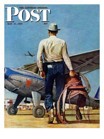 """""""Flying Cowboy,"""" Saturday Evening Post Cover, May 17, 1947"""