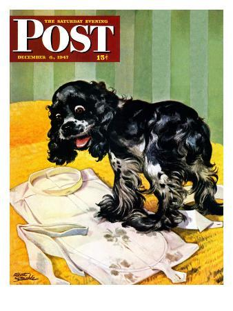 """Muddy Paw Prints,"" Saturday Evening Post Cover, December 6, 1947"