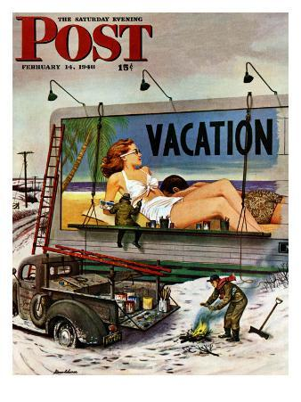 """Billboard Painters in Winter,"" Saturday Evening Post Cover, February 14, 1948"