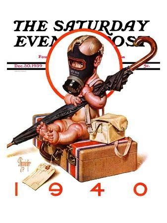 """""""Baby New Year Ready for War,"""" Saturday Evening Post Cover, December 30, 1939"""