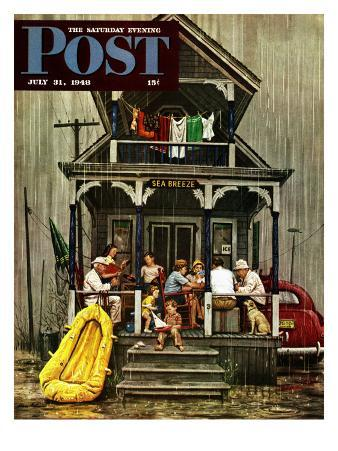 """""""Rainy Day at Beach Rental,"""" Saturday Evening Post Cover, July 31, 1948"""