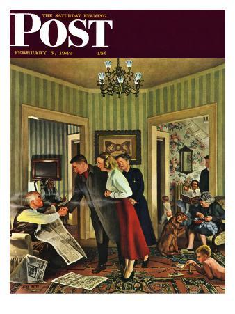 """""""Meeting the Date,"""" Saturday Evening Post Cover, February 5, 1949"""