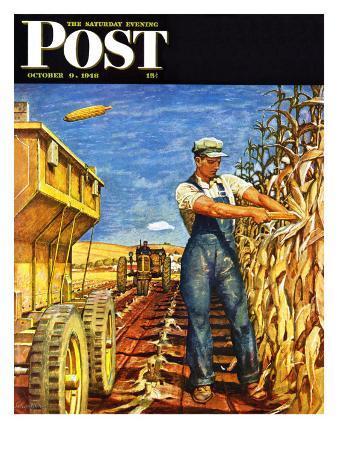 """Corn Harvest,"" Saturday Evening Post Cover, October 9, 1948"