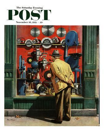 """""""Power Tool Window Shopping"""" Saturday Evening Post Cover, November 10, 1951"""