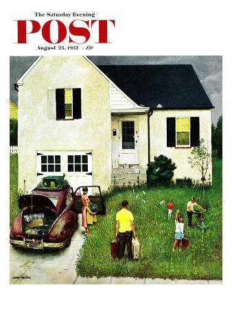 """Home from Vacation"" Saturday Evening Post Cover, August 23, 1952"