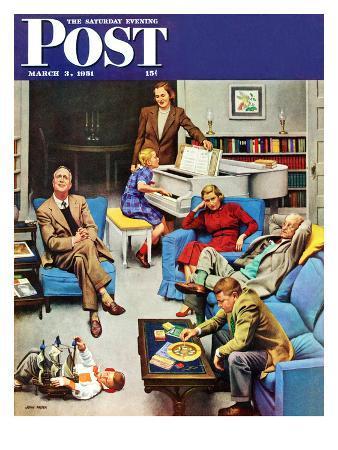 """Home Recital"" Saturday Evening Post Cover, March 3, 1951"