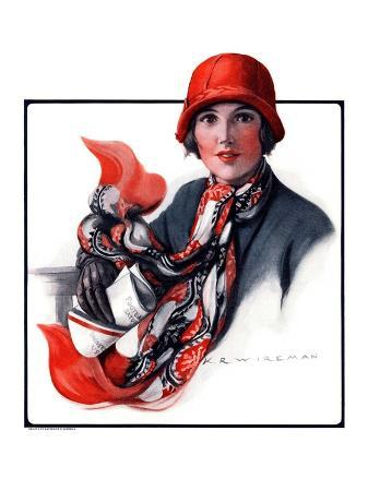 """""""Woman in Red Cloche and Scarf,""""November 8, 1924"""