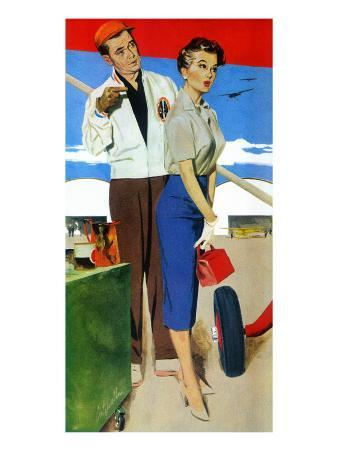 """The Flying Wife - Saturday Evening Post """"Men at the Top"""", August 16, 1958 pg.31"""