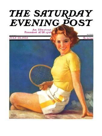 """""""Tennis Time-Out,"""" Saturday Evening Post Cover, July 20, 1935"""