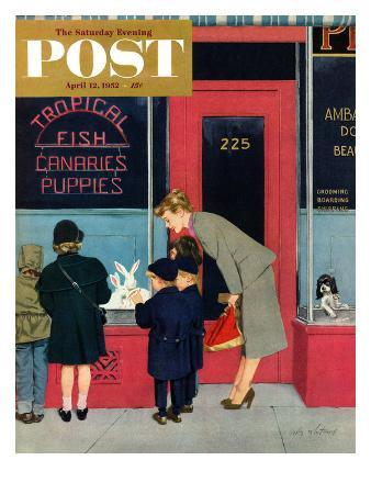 """""""Bunnies for Sale"""" Saturday Evening Post Cover, April 12, 1952"""