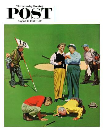 """""""Eighteenth Hole"""" Saturday Evening Post Cover, August 6, 1955"""