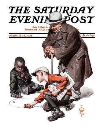 """Marbles Game,"" Saturday Evening Post Cover, March 28, 1925"
