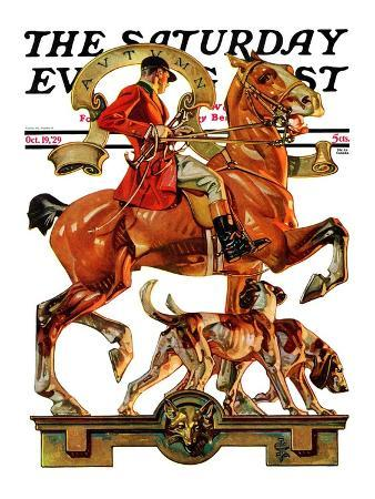 """""""Fall Foxhunting,"""" Saturday Evening Post Cover, October 19, 1929"""