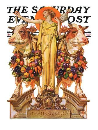 """""""Ceres and the Harvest,"""" Saturday Evening Post Cover, November 23, 1929"""