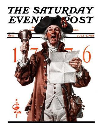 """""""Town Crier,"""" Saturday Evening Post Cover, July 4, 1925"""