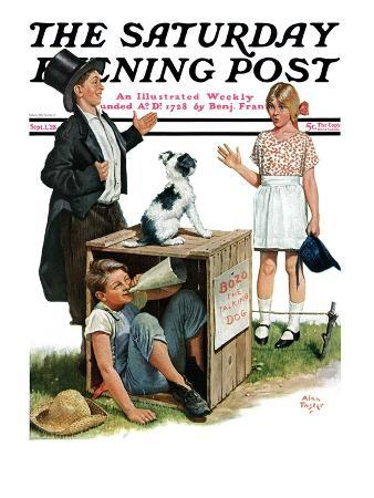 """""""Bozo, the Talking Dog,"""" Saturday Evening Post Cover, September 1, 1928"""