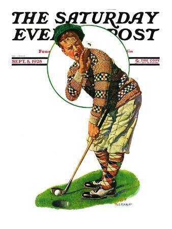 """""""Bee and Putter,"""" Saturday Evening Post Cover, September 8, 1928"""
