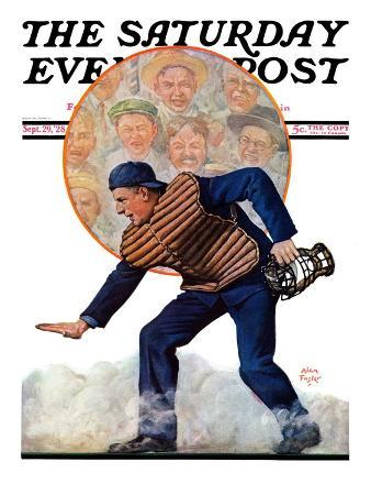 """""""Safe at the Plate,"""" Saturday Evening Post Cover, September 29, 1928"""