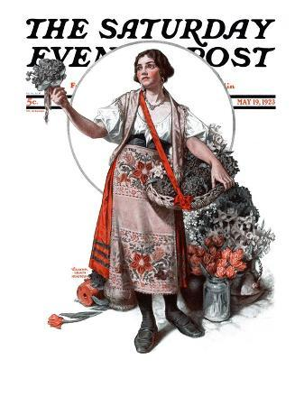 """""""Peasant Woman Selling Flowers,"""" Saturday Evening Post Cover, May 19, 1923"""