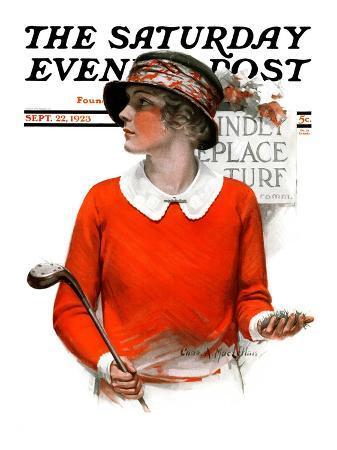 """""""Kindly Replace Turf,"""" Saturday Evening Post Cover, September 22, 1923"""