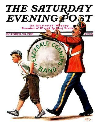 """""""Peacedale Corners Band,"""" Saturday Evening Post Cover, October 20, 1928"""