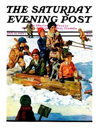 """Homemade Sleigh,"" Saturday Evening Post Cover, January 19, 1929"