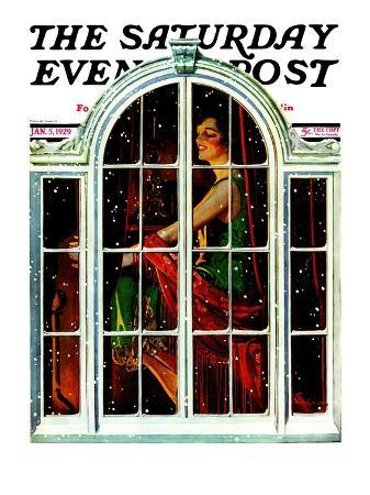 """Snowy Night,"" Saturday Evening Post Cover, January 5, 1929"
