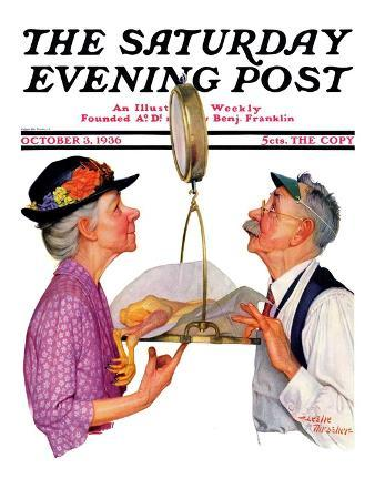"""""""Tipping the Scales,"""" Saturday Evening Post Cover, October 3, 1936"""
