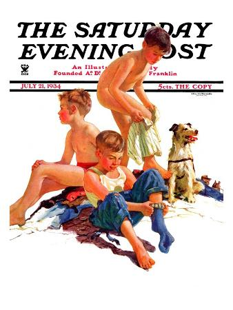 """""""After a Swim,"""" Saturday Evening Post Cover, July 21, 1934"""