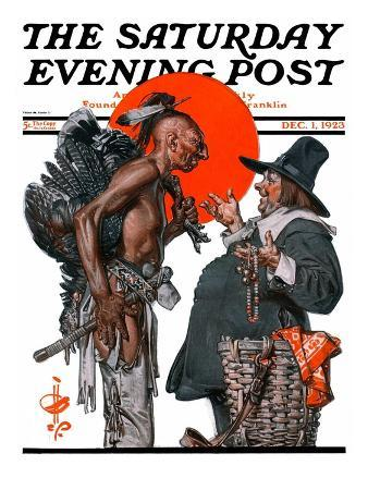 """""""Trading for a Turkey,"""" Saturday Evening Post Cover, December 1, 1923"""