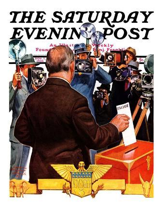 """""""Candidate Voting,"""" Saturday Evening Post Cover, November 7, 1936"""