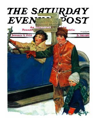 """""""Asking Directions,"""" Saturday Evening Post Cover, January 9, 1932"""