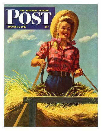 """""""Woman Driving Hay Wagon,"""" Saturday Evening Post Cover, August 14, 1943"""