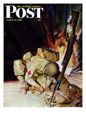 """""""Medic Treating Injured in Field,"""" Saturday Evening Post Cover, March 11, 1944"""