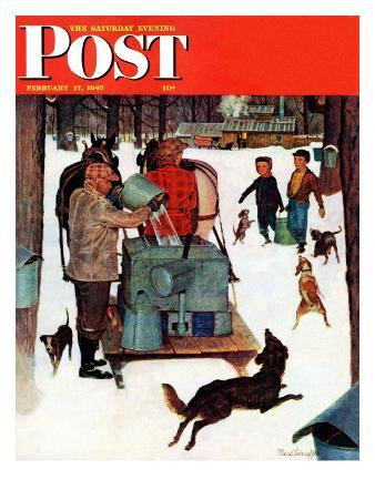 """Maple Syrup Time in Vermont,"" Saturday Evening Post Cover, February 17, 1945"