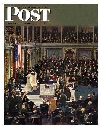 """""""Joint Session of Congress,"""" Saturday Evening Post Cover, January 7, 1950"""