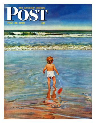 """Baby at the Beach,"" Saturday Evening Post Cover, July 23, 1949"