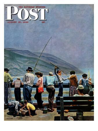 """""""Pier Fishing,"""" Saturday Evening Post Cover, August 13, 1949"""