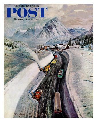 """""""Snowplows at Snoqualmie Pass,"""" Saturday Evening Post Cover, February 6, 1960"""