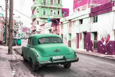 Cuba Fuerte Collection - Green Classic Car in Havana