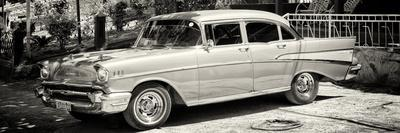 Cuba Fuerte Collection Panoramic BW - Classic Car in Vinales