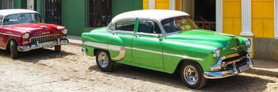 Cuba Fuerte Collection Panoramic - Cuban Green and Red Taxis