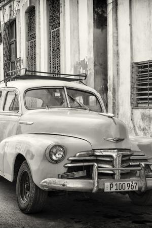 Cuba Fuerte Collection B&W - Old Chevy in Havana III