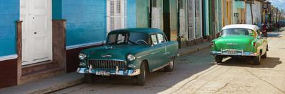 Cuba Fuerte Collection Panoramic - Green Cars in Trinidad