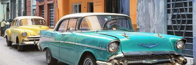 Cuba Fuerte Collection Panoramic - Old Cars Chevrolet Turquoise and Yellow