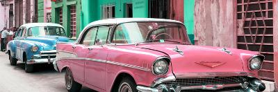 Cuba Fuerte Collection Panoramic - Old Cars Chevrolet Pink and Blue