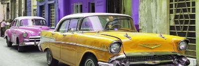 Cuba Fuerte Collection Panoramic - Old Cars Chevrolet Yellow and Pink