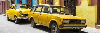 Cuba Fuerte Collection Panoramic - Two Yellow Cars in Havana