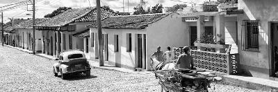 Cuba Fuerte Collection Panoramic BW - Trinidad Colorful Street Scene III
