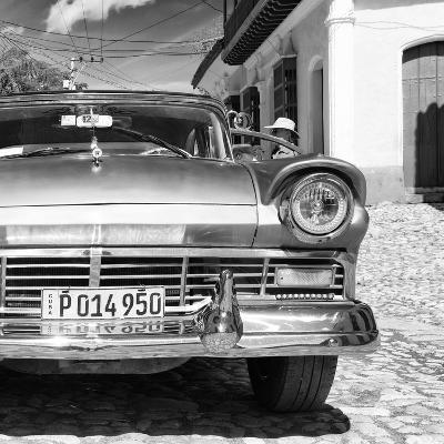 Cuba Fuerte Collection SQ BW- Close-up of American Classic Car III